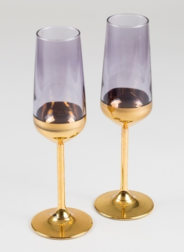Rakle 195 cc Golden Eye 2'li Şampanya Kadehi Seti Mor Mor
